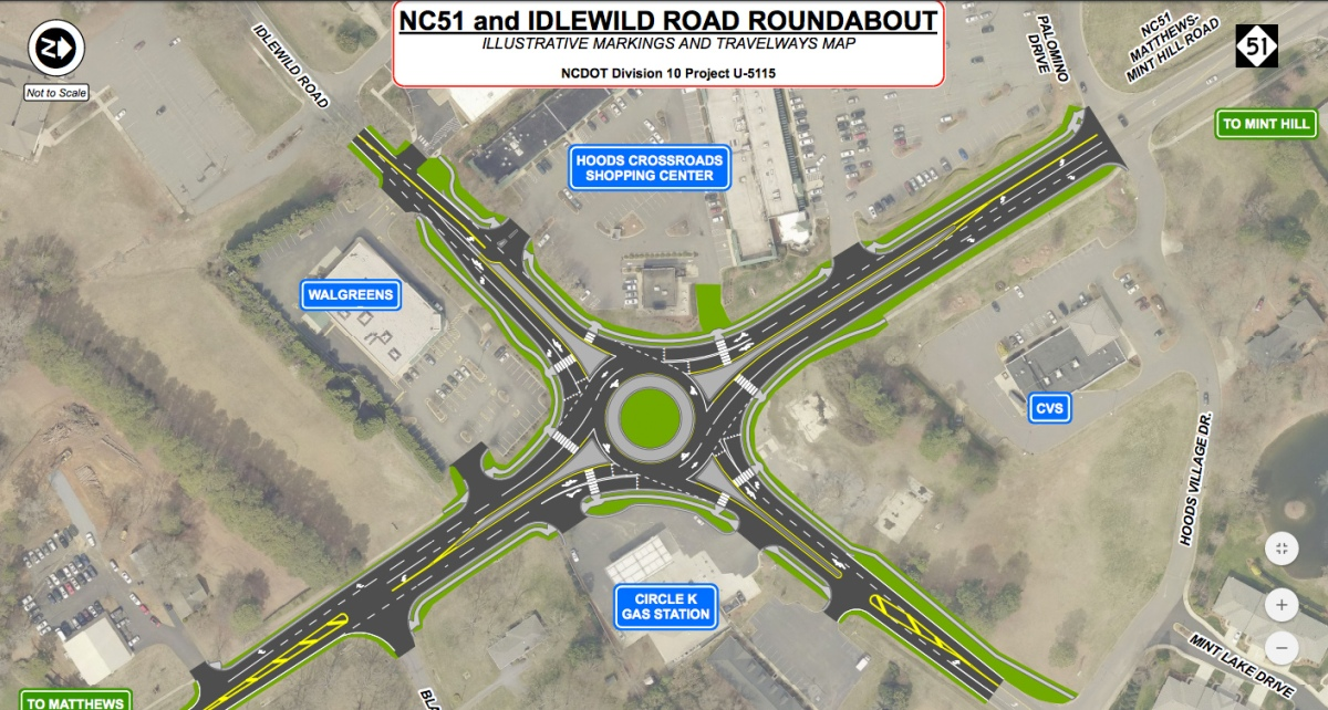 Construction begins on new roundabout at Idlewild Road and Highway 51