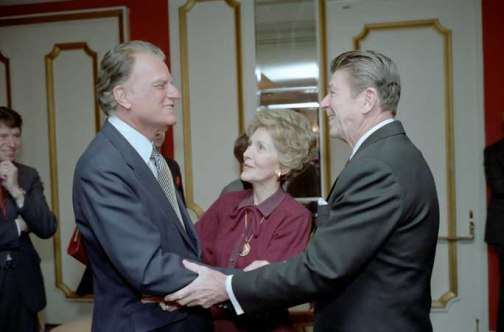 2/5/1981 President Reagan Nancy Reagan and Billy Graham at the National Prayer Breakfast held at the Washington Hilton Hotel (Photo courtesy of the White House)